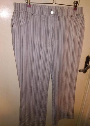 Стрейч,укороченные,летние,джинсы-капри в полоску,с карманами,большого размера,samoon
