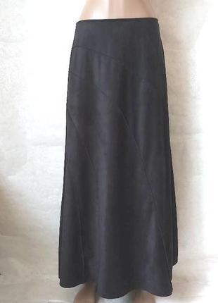 Фирменная per una юбка в пол/длинная юбка ткань под замш в чёрном цвете,размер м-ка