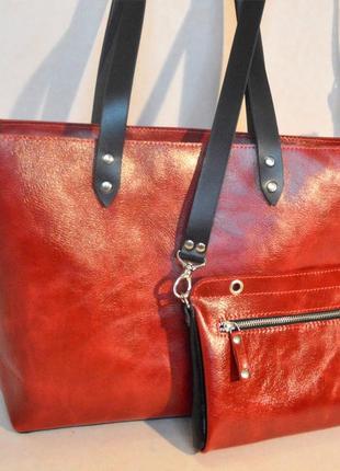 Кожаная сумка шоппер 2 в 1