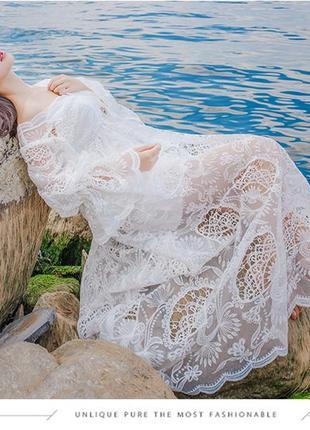 Будуарное платье для беременных в винтажном бохо стиле