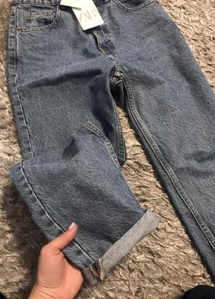 Новые джинсы zara  женские джинсы мом женские джинсы на высокой посадке