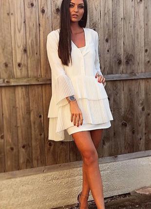 Белая длинная блуза рубашка туника стрейч со слоями рюшами плиссе рукава дизайнерская асим