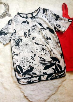 Белая асимметричная блуза туника футболка шифон с черным цветным цветочным принтом рисун