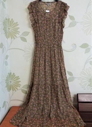 Шифоновое платье макси в пол с воланом ярусами  и рюшами