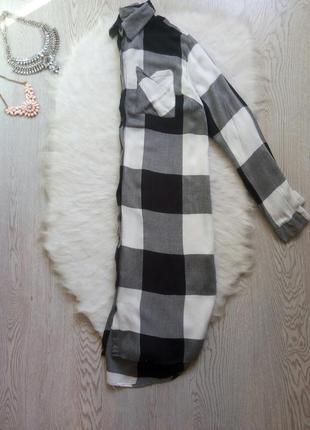 Длинная натуральная рубашка платье в клетку черная белая серая длинный рукав миди7 фото