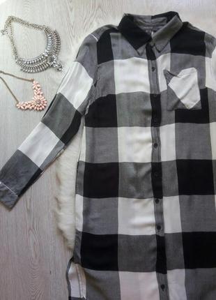 Длинная натуральная рубашка платье в клетку черная белая серая длинный рукав миди4 фото