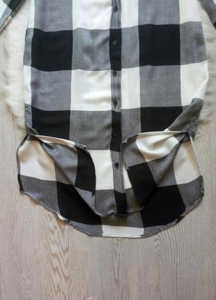 Длинная натуральная рубашка платье в клетку черная белая серая длинный рукав миди6 фото