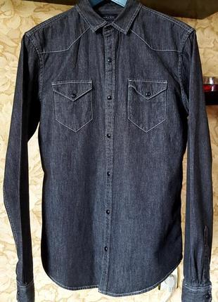 Стильная джинсовая рубашка zara slim fit