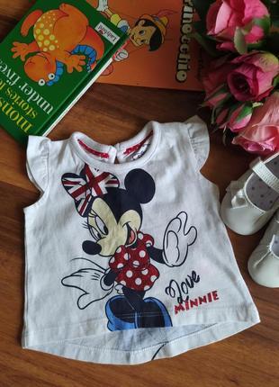 Модная футболка, майка с минни маус на малышку early days на 3 месяца.