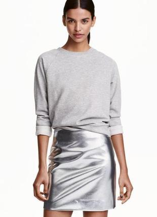 Мини юбка серебро -металлик h&m