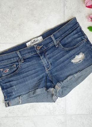 1+1=3 джинсовые шорты с потертостями и подворотом hollister оригинал, размер 44 - 46