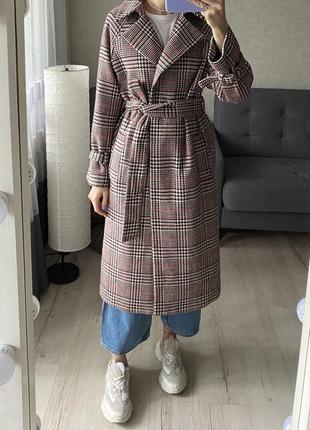 Классное миди пальто с ремешком в клетку marks&spencer с шерстю