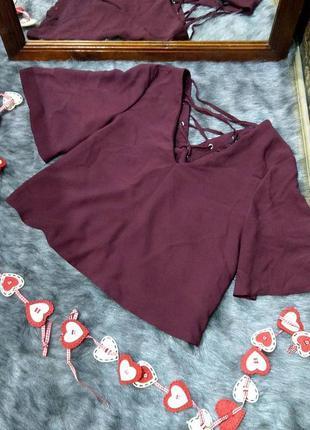 Топ блуза с v-образным вырезом и шнуровкой на спинке miss selfridge