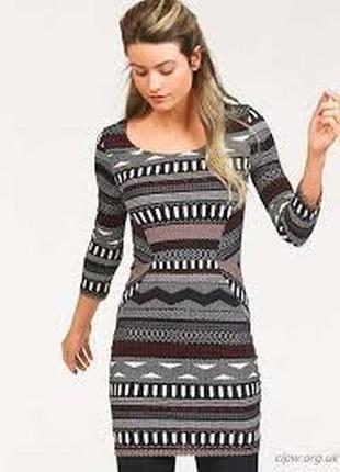 🌿1+1=3 стильное черное трикотажное короткое платье в принт ajc, размер 46 - 48