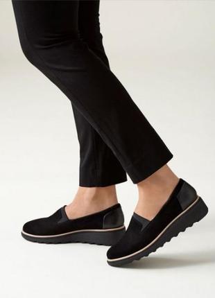 Clarks - замшевые туфли - слипоны
