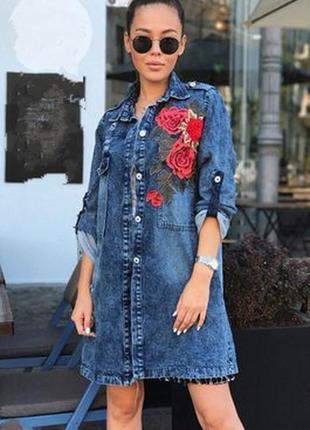 Платье удлинённая джинсовка с розами,