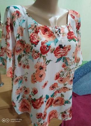 Воздушная цветочная  шифоновая блуза l-xl-xxl- janina- в идеале.