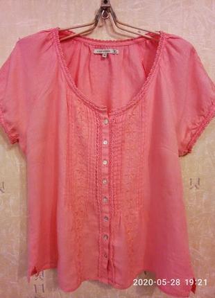 Красивейшая из тонкого льна блуза с вышивкой  италия на пог -52-55 см flash women