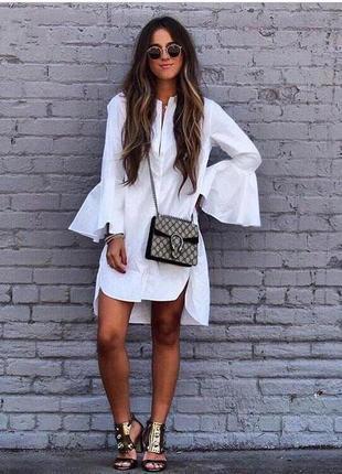 Платье-рубашка с расклешенными рукавами