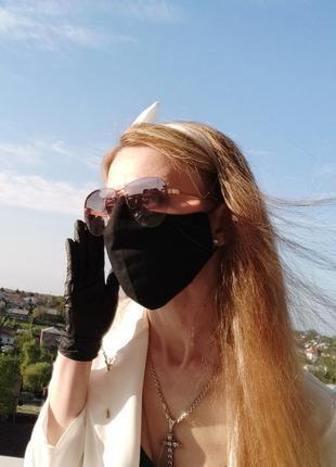 Комплект чорний маска , пов'язка чорна ,резинка чорна з вушками