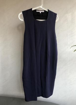 Новое синие платье сарафан миди, нави other stories, летнее с поясом cos xs, s