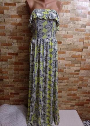 Новое трикотажное макси платье в принт волан на груди 14/48-50 размера
