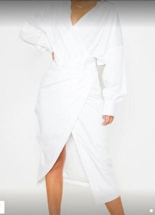 Шикарное белое платье рубашка на запах 10м