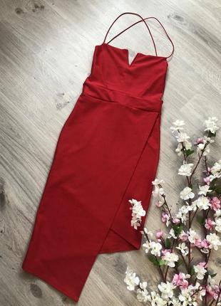 Шикарное красное вечернее платье с открытой спиной низ на запах,
