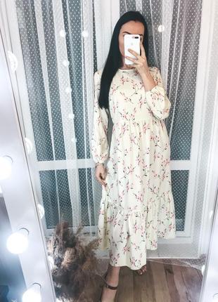 Платье макси в цветы