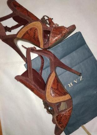 100 % кожаные босоножки на высоком каблуке zara animal print spain