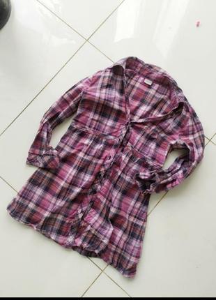 Клетчатая рубашка esprit розовая в кантри стиле