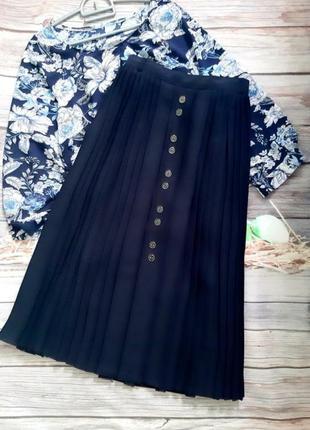 Стильная юбка плиссе миди синяя