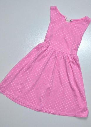 H&m. розовый трикотажный сарафан в белые сердечки. 3-4 года. рост 98-104 см