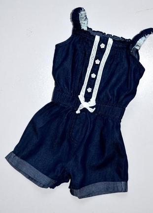 Young dimensions. джинсовый комбинезон на лето украшен кружевом. 2-3 года. 98 см