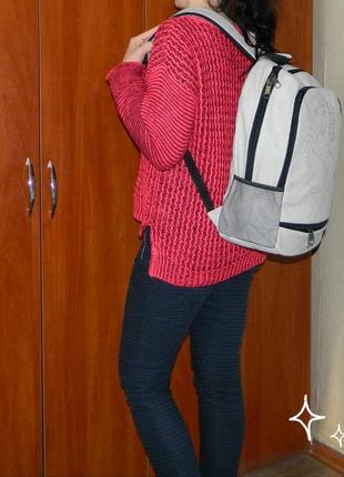 Рюкзак мужской светло-серый под кожу большой ferrari новый