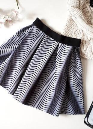 Серая пышная неопреновая юбка kira plastinina в принт юбка на талию