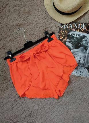 Яркие актуальные шорты с высокой посадкой и поясом/короткие шорты