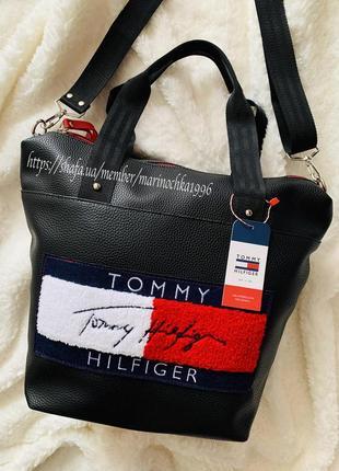 ⭐️ новая шиканая сумка топ качество tommy pu кожа ⭐️ / кроссбоди / шопер