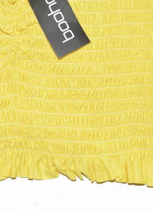 Желтый укорочённый топ на резинках boohoo9 фото