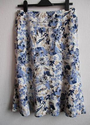 Распродажа! льняная юбка в цветочный принт isle