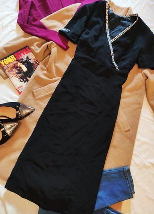 Платье миди чёрное на подкладке с белой окантовкой
