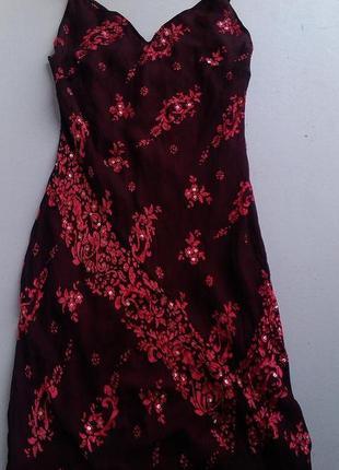 Брендовй шелковый макси сарафан с вышивкой