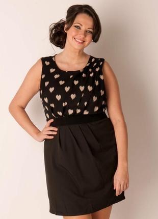 Ax paris платье чёрное в бежевое сердце классическое