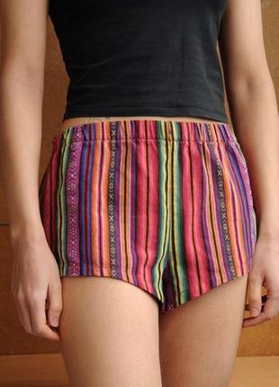 Шорты короткие цветные яркие полосатые в полоску хлопковые на резинке