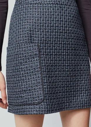 Юбка синяя черная с большим карманом прямая твидовая теплая на подкладке новая warehouse
