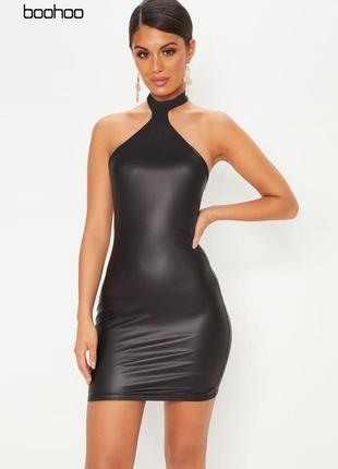 Платье с металлическим отливом и горлом boohoo