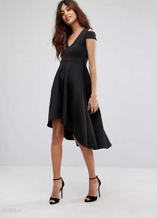 Платье чёрное с открытыми плечами стрейчевое миди ассиметрия большое батал be jealous