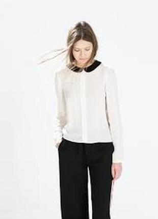 Бежевая блуза с черным воротником пуговицами на спинке длинный рукав шифон рубашка