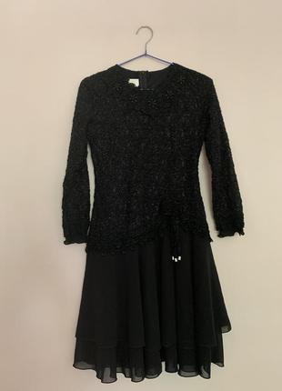 Чёрное платье ретро винтаж, платье с бисером , маленькое чёрное платье