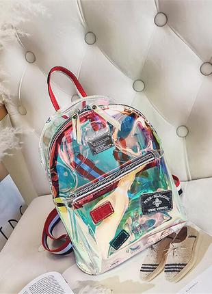 Прозрачный мини рюкзак сумка голограмный.